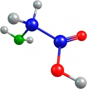 the 3d-rendered colorified molecule of glycine
