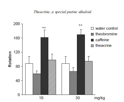 Effects of theacrine, caffeine and theobromine on rotatory locomotor activities