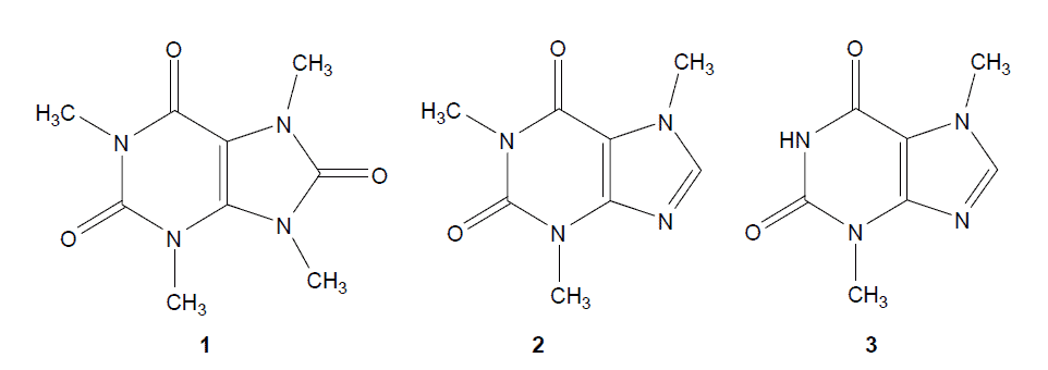 chemical structure of theacirne, caffeine,theobromine